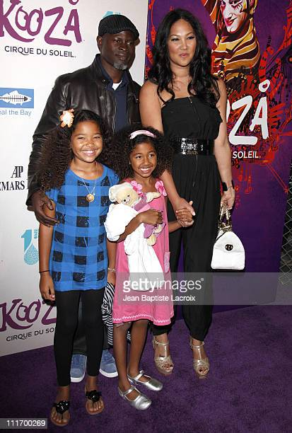 Djimon Hounsou wife Kimora Lee daughters Ming and Aoki arrive for the Cirque Du Soleil Opening Night Gala For Kooza at Santa Monica Pier on October...