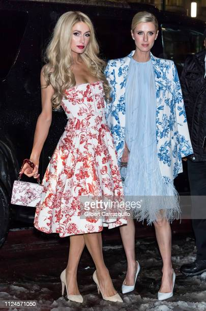 Model Paris Hilton and businesswoman Nicky Hilton Rothschild are seen arriving to Oscar De La Renta fashion show at the Cunard Building during New...
