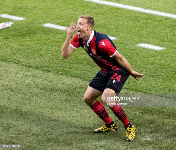 Djordje Kamber of Budapest Honved celebrates his goal during the Hungarian Cup Final match between Budapest Honved and Mezokovesd Zsory FC at Puskas...