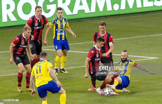 Djordje Kamber of Budapest Honved, Ivan Lovric of Budapest Honved, Budu Zivzivadze of Mezokovesd Zsory FC, Dino Besirovic of Mezokovesd Zsory FC,...