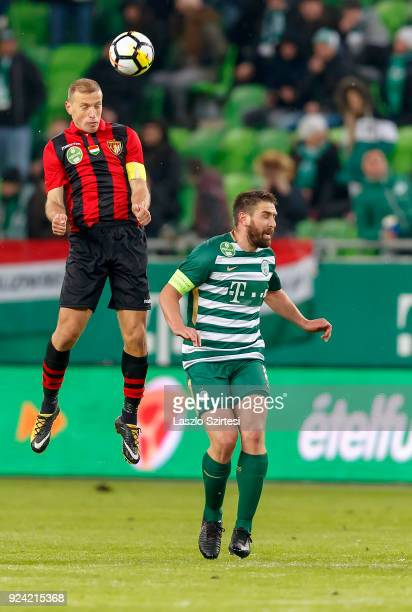 Djordje Kamber of Budapest Honved wins the ball from Daniel Bode of Ferencvarosi TC during the Hungarian OTP Bank Liga match between Ferencvarosi TC...