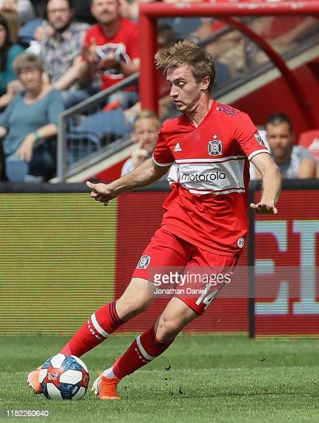 Djordje Mihailovic of Chicago Fire controls the ball against New York City FC at SeatGeek Stadium on May 25 2019 in Bridgeview Illinois The Fire and...