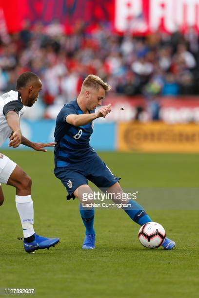 Djordje Mihailovic of the United States controls the ball during their international friendly match against Costa Rica at Avaya Stadium on February 2...