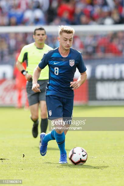 Djordje Mihailovic of the United States dribbles the ball during their international friendly match against Costa Rica at Avaya Stadium on February 2...