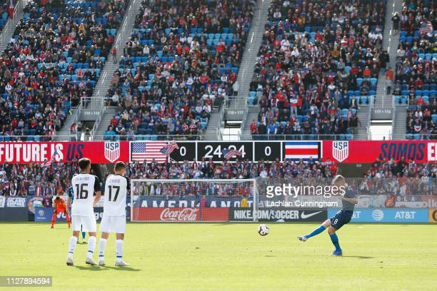 Djordje Mihailovic of the United States takes a free kick during their international friendly match against Costa Rica at Avaya Stadium on February 2...