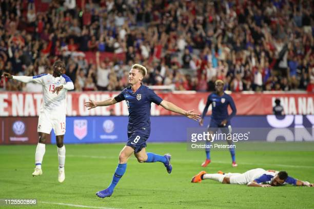 Djordje Mihailovic of United States celebrates scoring a goal against Panama during the first half of the international friendly at State Farm...