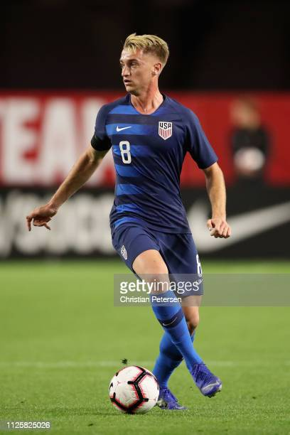 Djordje Mihailovic of United States controls the ball during the first half of the international friendly against the Panama at State Farm Stadium on...