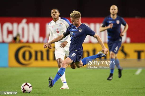 Djordje Mihailovic of United States kicks the ball down field past Ernesto Walker of Panama during the first half of the international friendly at...
