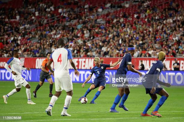 Djordje Mihailovic of United States shoots the ball against the Panama during the second half of the international friendly at State Farm Stadium on...