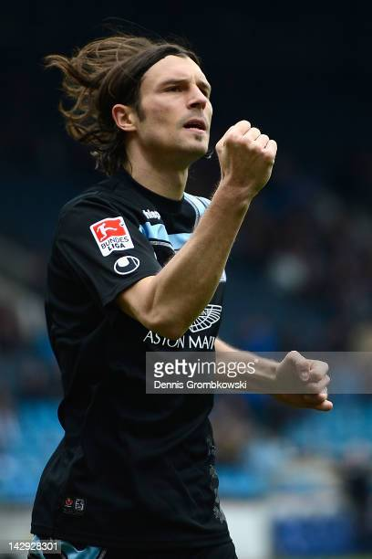 Djordje Rakic of Muenchen celebrates after scoring his team's first goal during the Second Bundesliga match between VfL Bochum and 1860 Muenchen at...