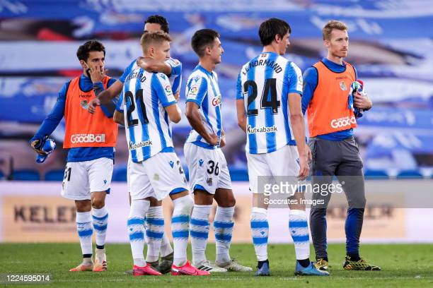 Djouahra of Real Sociedad, Mikel Merino of Real Sociedad, Martin Odegaard of Real Sociedad, Zubimendi of Real Sociedad, Robin Le Normand of Real...
