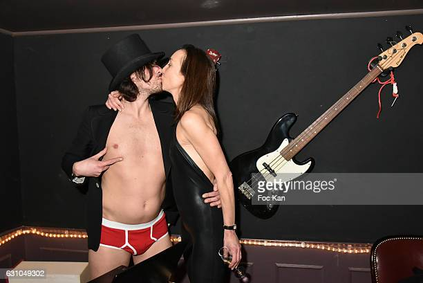 DJ/performer Gwenael Billaud and 'Midnight performer ' Amelie attend the 'Nuit Bruce Nauman' screening party and performance of Amelie Pironneau at...