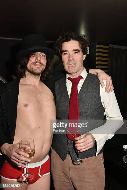 DJ/performer Gwenael Billaud and plastician artist/'Post Bourgeoise musician' Olivier Urman attend the 'Nuit Bruce Nauman' screening party and...