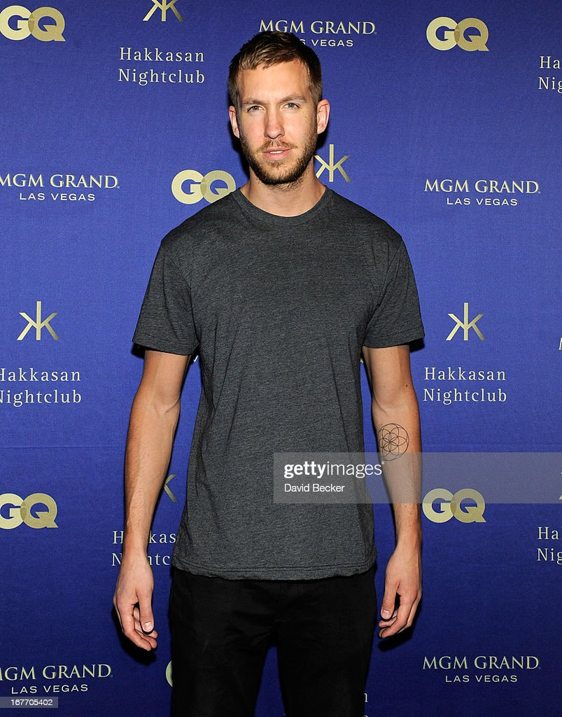 DJ/producer Calvin Harris arrives at the grand opening of Hakkasan Las Vegas Restaurant and Nightclub at the MGM Grand Hotel/Casino on April 27, 2013 in Las Vegas, Nevada.