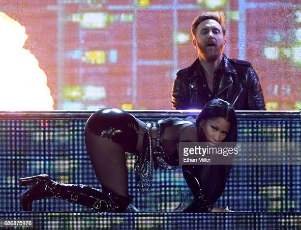 DJ/producer David Guetta and rapper Nicki Minaj perform during the 2017 Billboard Music Awards at TMobile Arena on May 21 2017 in Las Vegas Nevada