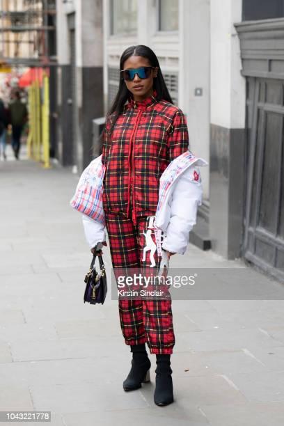 Producer Dren Coleman wears Nicopanda tracksuits during London Fashion Week September 2018 on September 14, 2018 in London, England.