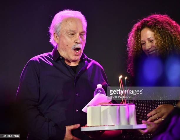 Producer Giorgio Moroder celebrates his 78th birthday onstage at Globe Theatre on April 26, 2018 in Los Angeles, California.