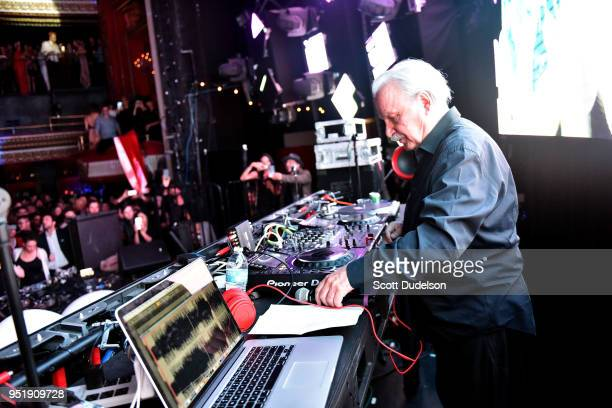 Producer Giorgio Moroder performs onstage during his 78th birthday party celebration at Globe Theatre on April 26, 2018 in Los Angeles, California.