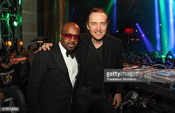 DJ/producer Jermaine Dupri and DJ/producer David Guetta at XS Nightclub at Encore Las Vegas on March 13 2016 in Las Vegas Nevada