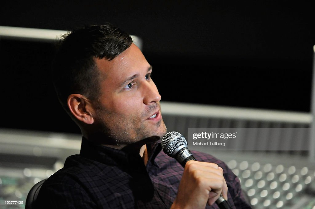 DJ/Producer Kaskade gets interviewed at an 'Up Close & Personal with Steve Aoki and Kaskade' Q&A session for GRAMMY U Los Angeles at Los Angeles Film School on September 25, 2012 in Los Angeles, California.
