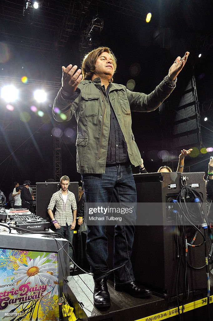 DJ/producer Paul Oakenfold pleads to have the sound turned back on at the end of Day One of the 13th annual Electric Daisy Carnival electronic music festival on June 26, 2009 in Los Angeles, California.