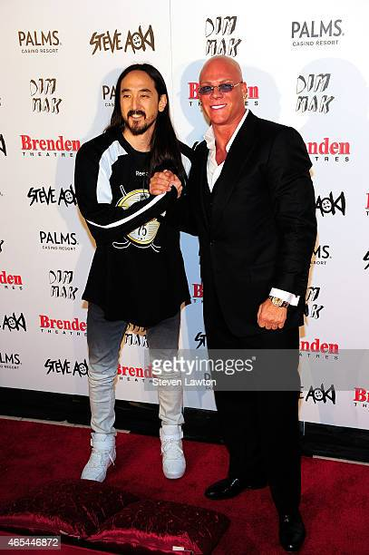 DJ/producer Steve Aoki and President and CEO of the Brenden Theatre Corp Johnny Brenden appear during the unveiling of a celebrity star honoring...