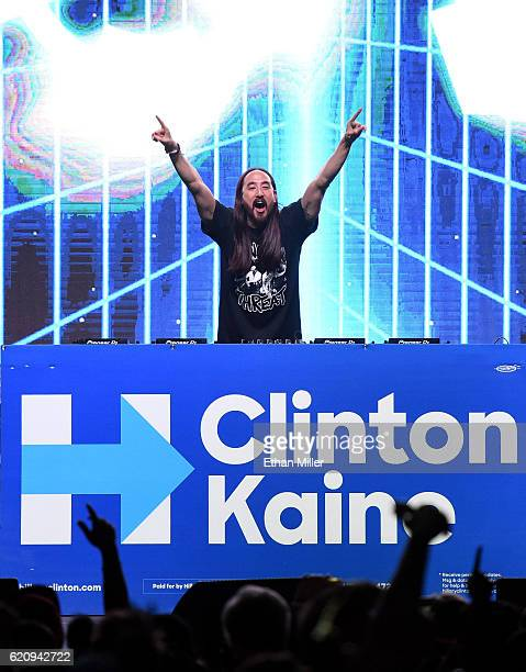 DJ/producer Steve Aoki performs at a getoutthevote concert for Democratic presidential nominee Hillary Clinton as part of Hillary for America's 'Love...