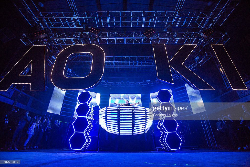 DJ/producer Steve Aoki performs during the Aokify America tour at The Shrine Expo Hall on November 15, 2013 in Los Angeles, California.