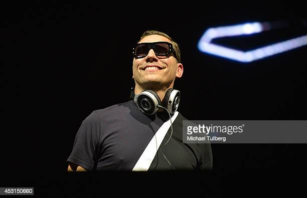 Producer Tiesto performs during Day 2 of the HARD Summer 2014 festival at Whittier Narrows Recreation Area on August 3 2014 in Los Angeles California