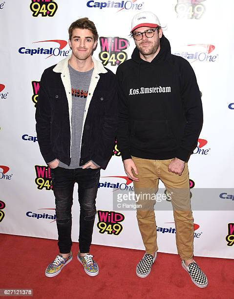 Producers Andrew Taggart and Alex Pall aka The Chainsmokers pose in the press room during the WiLD 949 iHeartRadio Jingle Ball at SAP Center on...
