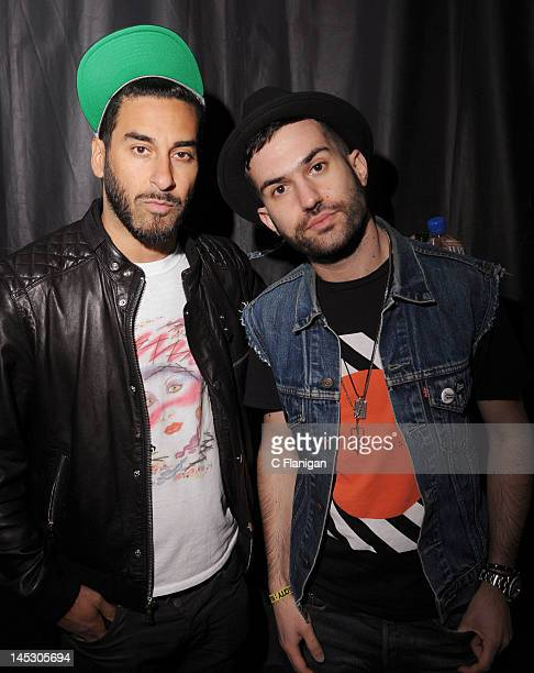 Producers Armand Van Helden and ATrak of Duck Sauce pose backstage during day 1 of the 2012 'I LOVE THIS CITY' Music Festival at Shoreline...