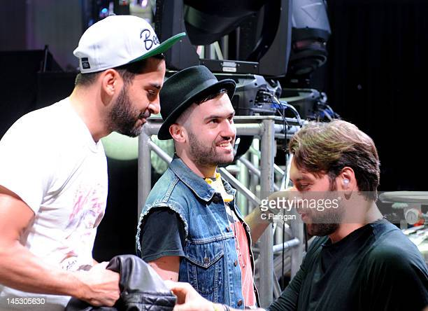 Producers Armand Van Helden ATrak and Sebastian Ingrosso backstage during day 1 of the 2012 'I LOVE THIS CITY' Music Festival at Shoreline...
