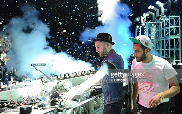 Producers ATrak and Armand Van Helden of Duck Sauce perform during day 1 of the 2012 'I LOVE THIS CITY' Music Festival at Shoreline Amphitheatre on...