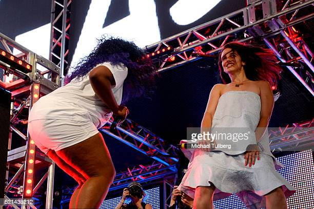 Rapper UNiiQU3 and DJ Nina Las Vegas perform onstage during day 1 of the 2016 Coachella Valley Music Arts Festival Weekend 1 at the Empire Polo Club...