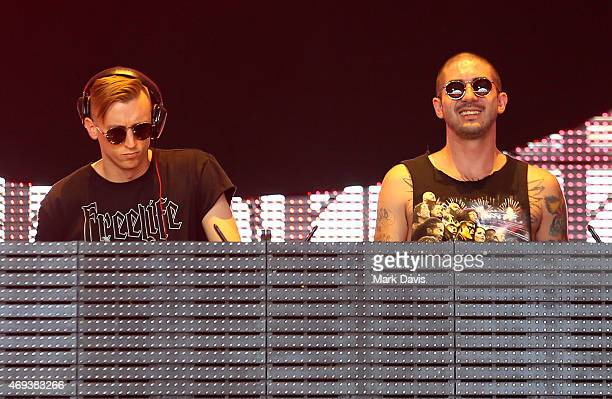 DJs Adam Weiss and Romo of Dem Ham Boyz perform onstage during day 2 of the 2015 Coachella Valley Music Arts Festival at the Empire Polo Club on...