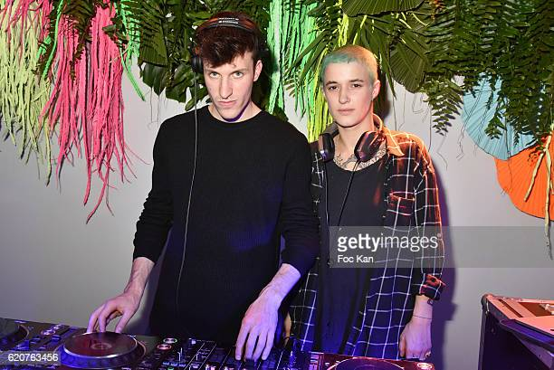 DJs Agathe Mougin and Wladimir Schall perform during the KENZO x HM Paris Launch Party at Hotel De Brossier on November on November 2 2016 in Paris...
