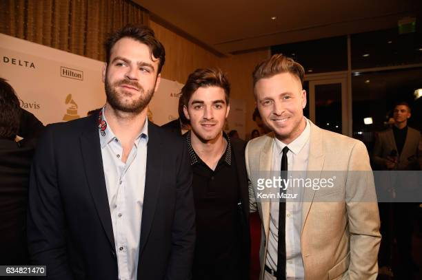 DJs Alex Pall and Andrew Taggart of The Chainsmokers and musician/producer Ryan Tedder attend PreGRAMMY Gala and Salute to Industry Icons Honoring...
