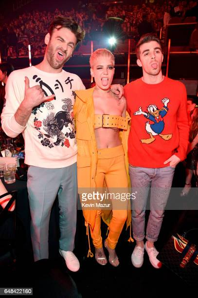 DJs Alex Pall and Andrew Taggart of The Chainsmokers and singer Halsey attend the 2017 iHeartRadio Music Awards which broadcast live on Turner's TBS...