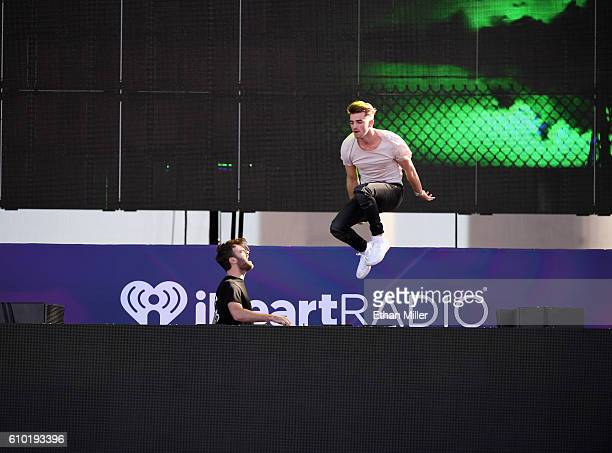 DJs Alex Pall and Andrew Taggart of The Chainsmokers perform onstage during the 2016 Daytime Village at the iHeartRadio Music Festival at the Las...