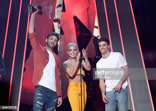 DJs Alex Pall and Drew Taggart of The Chainsmokers with singer Halsey accept Dance Song of the Year for 'Closer' onstage at the 2017 iHeartRadio...