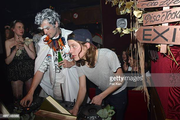 DJs Alex Pan and Clara 3000 attend The Baron Club 10th Anniversary Party at Le Baron on April 9 2015 in Paris France