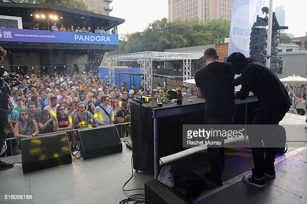 DJs AlP and Jesse L Keeler of MSTRKRFT perform onstage during the PANDORA Discovery Den SXSW on March 16 2016 in Austin Texas