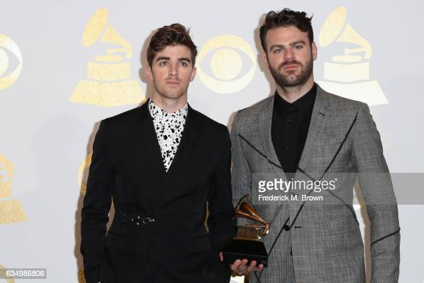DJs Andrew Taggart and Alex Pall of The Chainsmokers winners of Best Dance Recording for 'Don't Let Me Down' pose in the press room during The 59th...