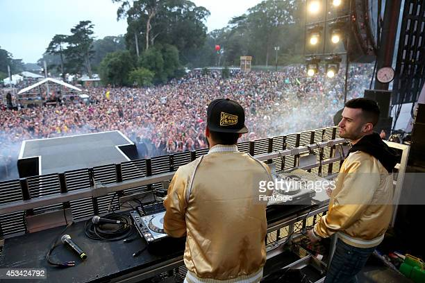 DJs Armand Van Helden and ATrak of Duck Sauce perform at the Twin Peaks Stage during day 2 of the 2014 Outside Lands Music and Arts Festival at...