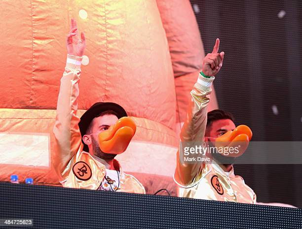 DJs Armand Van Helden and ATrak of Duck Sauce perform onstage during day 3 of the 2014 Coachella Valley Music Arts Festival at the Empire Polo Club...