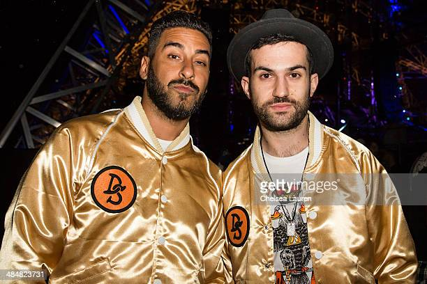 DJs Armand Van Helden and ATrak of Duck Sauce pose backstage at the Coachella Valley music and arts festival at The Empire Polo Club on April 13 2014...