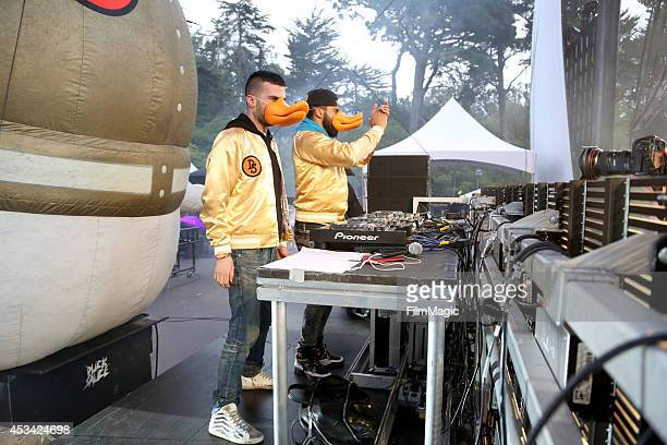 DJs ATrak and Armand Van Helden of Duck Sauce perform at the Twin Peaks Stage during day 2 of the 2014 Outside Lands Music and Arts Festival at...