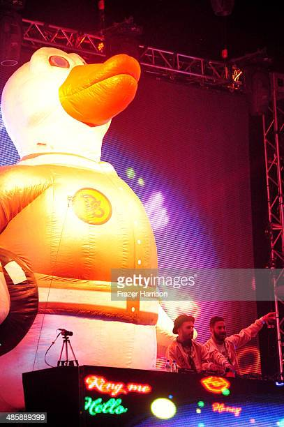 DJs ATrak and Armand Van Helden of Duck Sauce perform onstage during day 3 of the 2014 Coachella Valley Music Arts Festival at the Empire Polo Club...