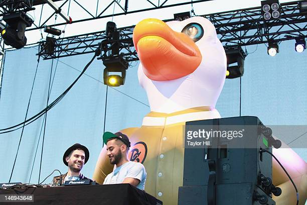 DJs ATrak and Armand van Helden perform as Duck Sauce during the 2012 Governors Ball Music Festival at Randall's Island on June 23 2012 in New York...