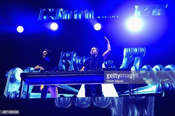 DJs Axwell and Sebastian Ingrosso perform onstage during the 2015 Budweiser Made in America Festival at Benjamin Franklin Parkway on September 6 2015...